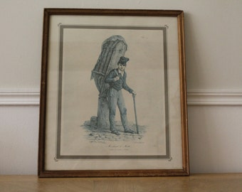 """French Litography """"Marchand de mottes"""" Carle Vernet Art Work Print circa 1900's"""