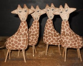 Giraffe handmade Primitive Zoo Animal  Noahs Ark Series Doll