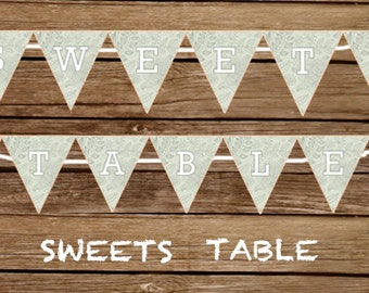 Sweets Table Banner - Print At Home Sweets Table Sign