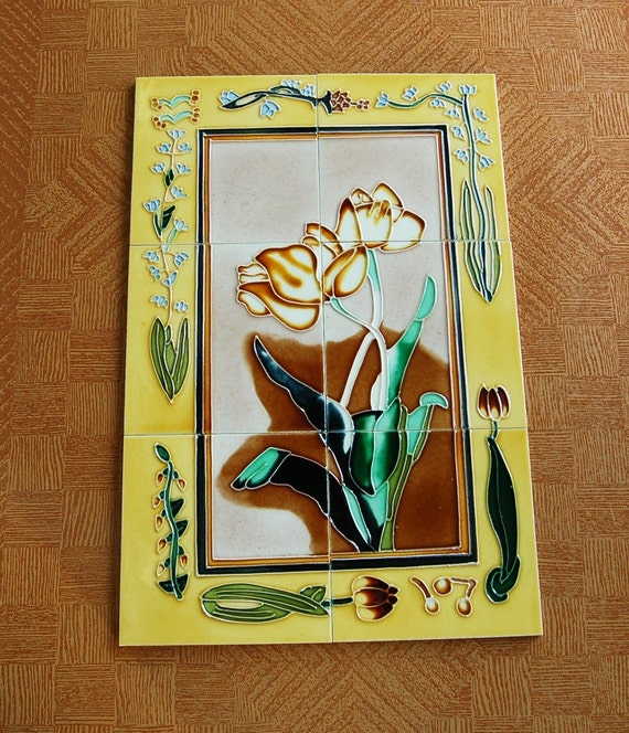 Rare art nouveau 6 wall tile floral mural vintage wall tiles for Art nouveau tile mural