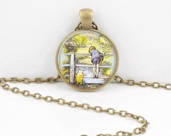 Winnie-the-Pooh classic illustration Pooh and Christopher Robin Pooh Sticks Pendant Necklace or Key Ring