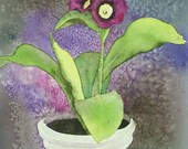 Original Watercolor Painting Mystery Flower, matted, purple, plum, green