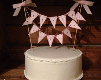 Pink children's birthday cake bunting