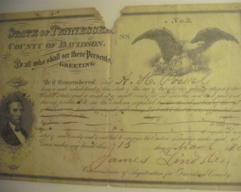 1870 - Elective Franchise Act - Certificate - A. H. Powel - James Lindley - Davidson County Tennessee