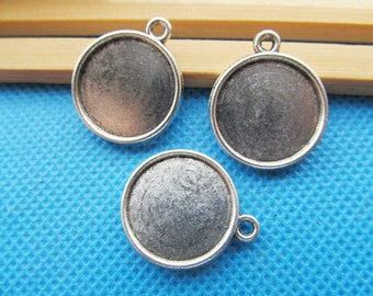 Antique Silver tone/Antique bronze Round Base Setting Bezel Tray Bezel Pendant Charm/Finding,fit 10mm Round Cabochon/Cameo,Two Same Side