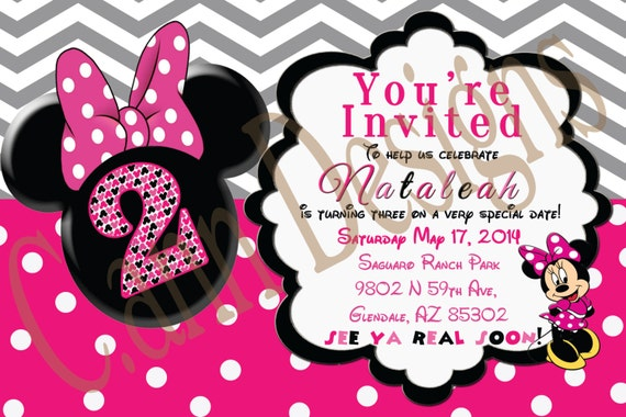 Minnie Mouse 2nd Birthday Invitations and get inspiration to create nice invitation ideas