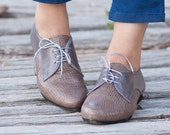 Grey Leather Shoes, Grey Oxford Shoes, Close Shoes, Flat Shoes, Free Shipping