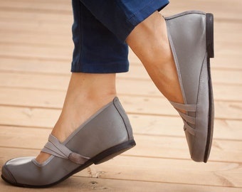 Grey Vegan Leather Shoes, Flat Shoes, Soft Shoes, Grey Shoes, Loafers , Free Shipping