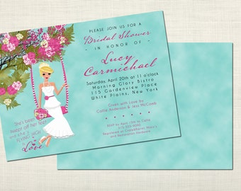 Swingin' Romance Bridal Shower Invitations - Blonde