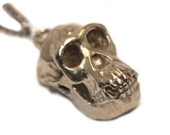 Animal Skull Ape Chimpanzee Skull Necklace Jewelry Biologist Gift Bronze White Bronze Sterling Silver Hominid Biology