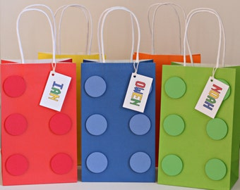 building brick party favor bags, goody bags, building brick birthday party goody bags / READY-MADE / set of 12