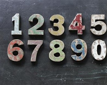 Distressed wood number