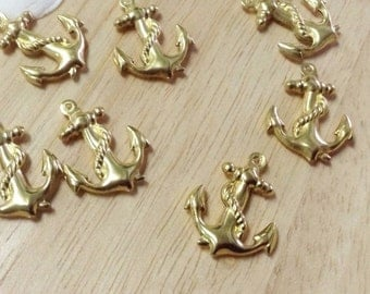 10 pcs. Anchor Brass Pendants,Unplated, Size 18x24x3.5 mm.(P 028)