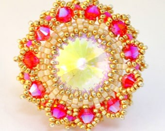 Swarovski Ring /  Bead Jewelry / Swarovski Crystal Jewelry / Beaded Ring / Adjustable Ring