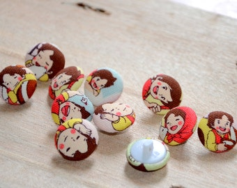 Fabric Buttons - Japanese Kawaii Fabric Pink Red Yellow Blue Girl - 10 Small Fabric Covered Buttons