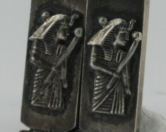 Vintage Egyptian Style Sterling Silver Extremely Detailed Carved Etched Man Cuff Links NA3208