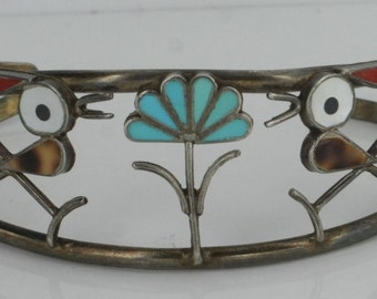 Vintage Native American Sterling Silver Moonstone Shell Coral Turquoise Inlay Cuff NA3447