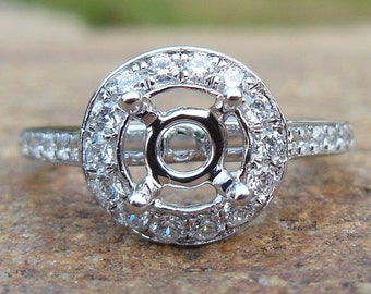 Solid 14K White Gold 5MM Round Fashion Semi Mount Ring / Diamond Engagement Ring