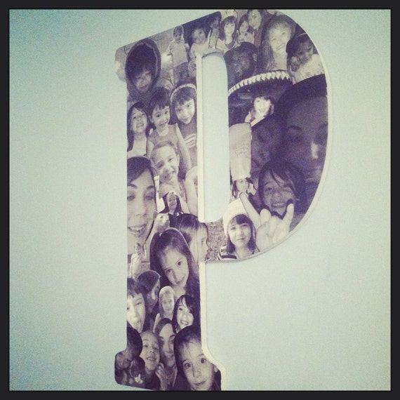 18 inch wooden letter collage wooden letter great gift idea or to way to display all of your digital photos