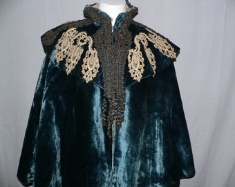 Victorian Cape  Velvet with Lace adn Beading