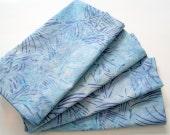 Cloth Napkins - Set of 4 - Light Blue and Purple Batik - Large Dinner Napkins