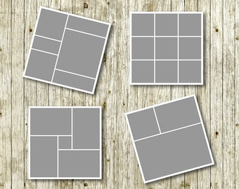 """Photo storyboard template 20""""x20"""" for photographers, photoshop templates, instant download, commercial use, S07"""