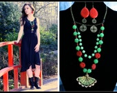 Jade fan japaneses necklace and earrings set - merkittenjewelry