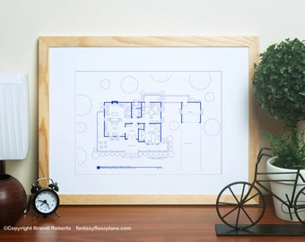 Gilmore Girls Poster - TV Show Floor Plan - BluePrint Art for Residence of Lorelai and Rory Gilmore, Stars Hollow - 1st Floor