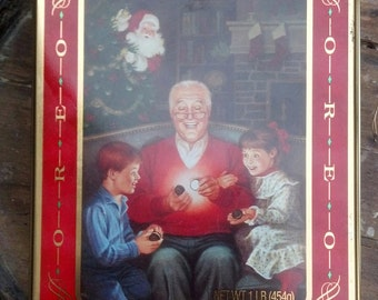 Collectible Oreo Cookie Tin with Grandfather and Grandkids on Lid and Santa in Background / Commemorative Holiday Tin / Storage Tin / F219