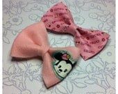 RESERVED/CUSTOM ORDER: Light Pink - Felt Bow Hair Clip / Clip-on Bow Tie w/ Upcycled Minnie Mouse w/ Bonus Bow - Large