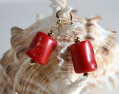 Red Coral and 14K 20 Gold Filled Earring