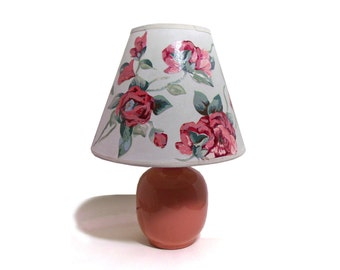 Decoupage lamp shade, shabby chic roses, on ceramic lamp,  15  inches tall over all