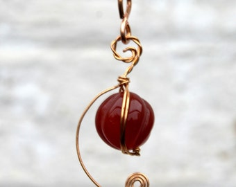 Hand carved red Agate gold plated pendant necklace