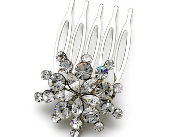 Petite Flower Side Hair Comb with Marquise & Round Rhinestones