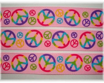 """TYE DYE PEACE Pink -  7/8"""" - 5 Yards  - Oh My Gosh Goodies Ribbon"""