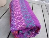TTBabyWrap-Hand Woven Baby Blanket-Rainbow warp-Flowers pattern-All cotton-Purple weft