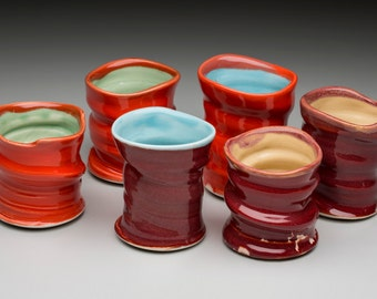 Porcelain tumblers for your drinking pleasure.