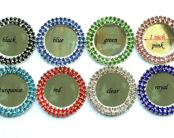 10% off!  100 pcs Metal Button Cap 25MM Inner Round Silver Setting Blank With Double Row Rhinestones Metal Button Caps Flat Back For Bows
