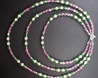 Three Strand Czech Glass Springtime Necklace