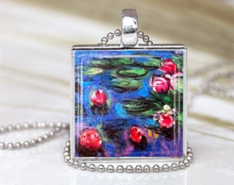 Monet - Water Lilies by Claude Monet Pendant, painting Giverny, France gift for her, Christmas Birthday gift special occasion