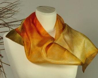 Habotai Silk Scarf, Tie Dyed, Orange Yellow Olive-green  Ssa-2