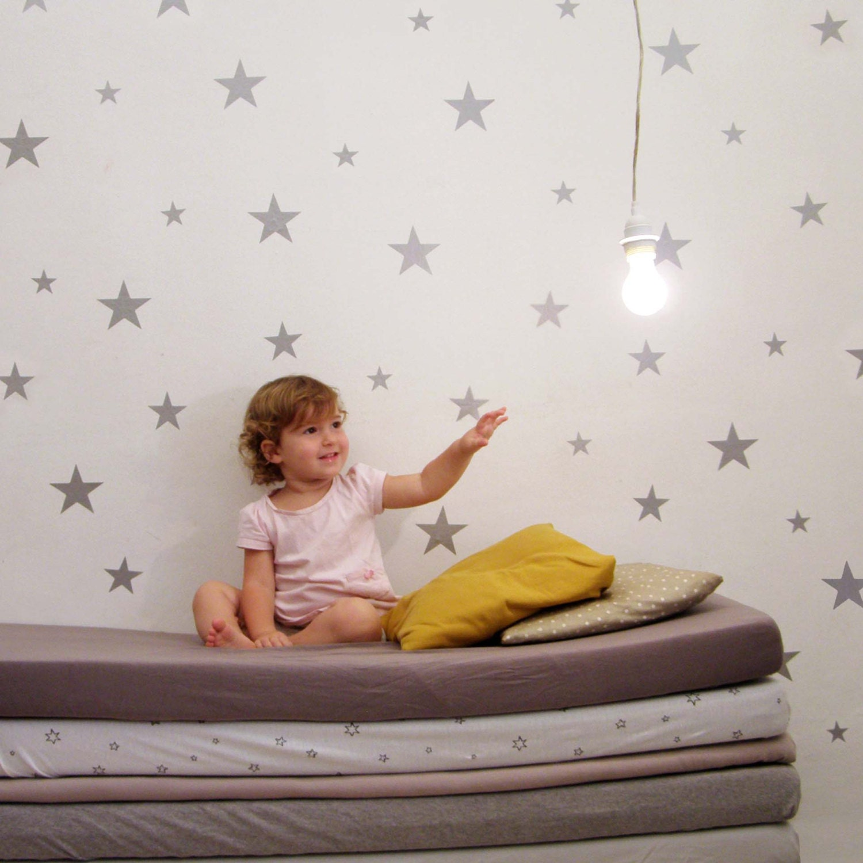 silver star wall decals wall sticker nursery wall by walplus silver dot clock amp swarovski crystals wall sticker