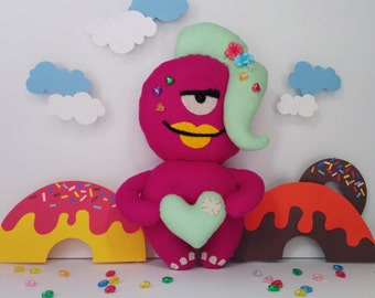 Love Monster Donut Monster Plush - Ms. Beauty Berry, Stuffed Toy, Radiant Orchid, Mint Green