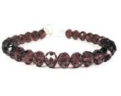 Purple Crystal Bracelet, Plum Purple Tennis Bracelet, Beadwork, Beaded, Faceted Glass Bracelet, Teen Jewellery, Women's Jewelry, Gift Idea