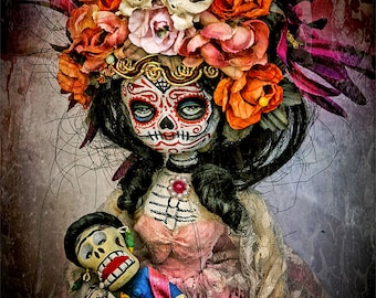Beautiful Mortal Dia De Los Muertos Doll Holding a dolly PRINT 416 Reproduction
