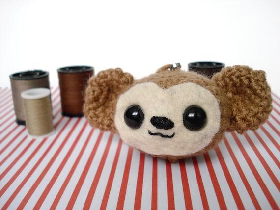 Amigurumi Monkey Keychain : Silly Little Amigurumi Monkey Plush Keychain