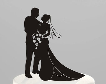 Wedding Cake Topper Silhouette Bride and Groom, Acrylic Cake Topper [CT8]
