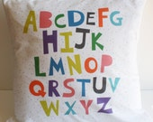 abc Pillow Cover, illustration, pillow cover, bedding, modern pillow, alphabet, kids pillow, fun pillow, nursery, kids room decoration