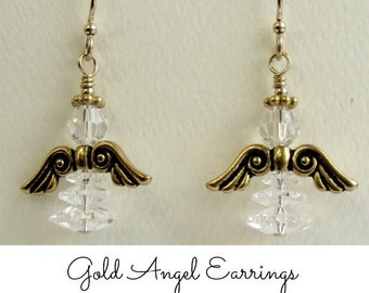 Angel Earrings - Gold and Swarovski Crystal