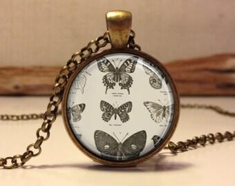 Butterflies necklace.  Butterfly art pendant jewelry